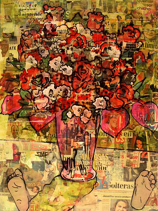 Florero cachanchérico / Carlos Fajardo / medios mixtos sobre tela, yeso, papel, cartón y basura / 2013 / colección del artista