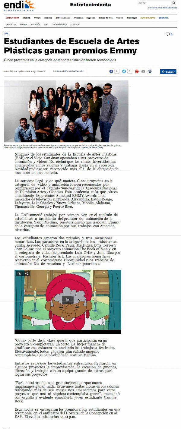 Cortometrajes Suncoast EMMY Awards en EAP_AUTOGIRO ARTE