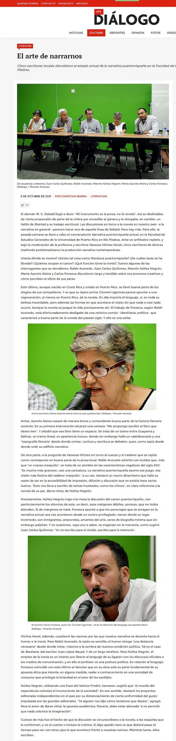 El arte de narrarnos, narrativa puertorriqueña actual-Autogiro arte actual