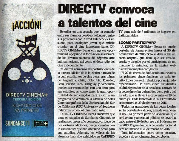 Direct TV Cinema-Estudiantes de Cine-autogiro arte actual