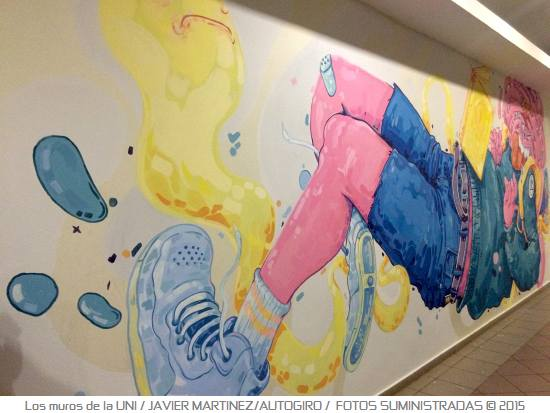 Los muros de la UNI 2 Autogiro arte actual - Murales de la UPR Bayamón