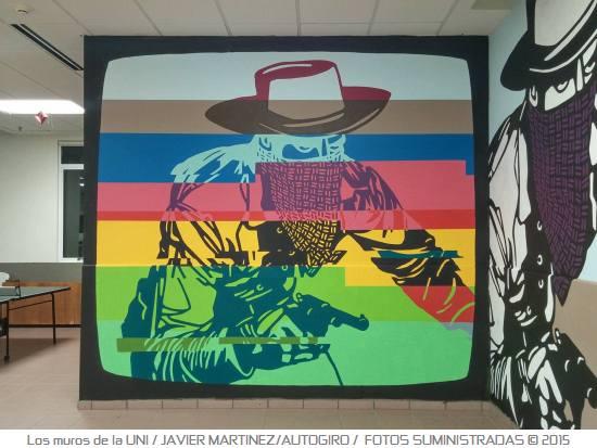 Los muros de la UNI 7 Autogiro arte actual - Murales de la UPR Bayamón