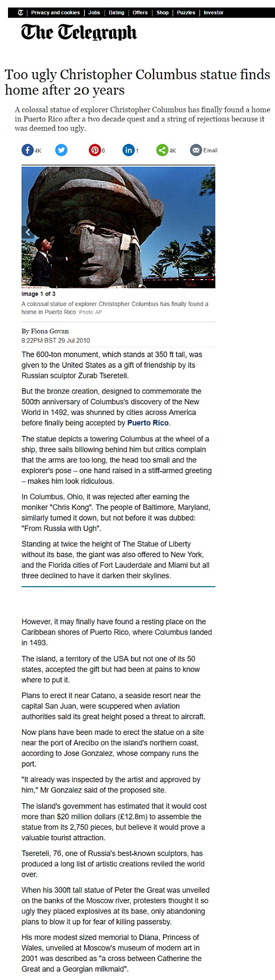 Estatua Cristóbal Colón fea encuentra hogar, tomo 20 años-Autogiro arte actual