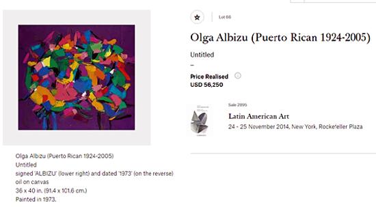 Olga Albizu-Puerto rican artists at art auctions-Autogiro arte actual