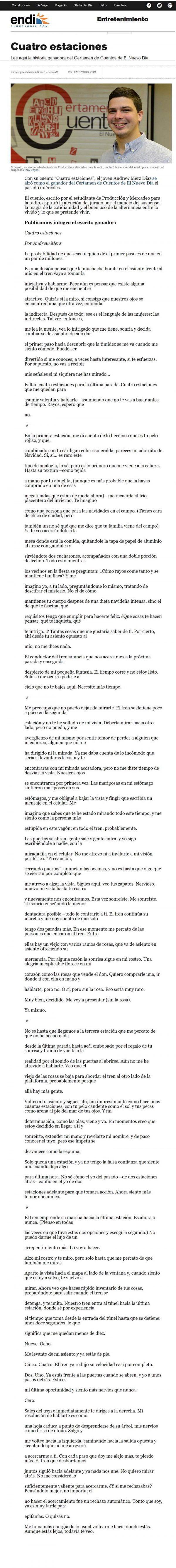 """El Cuento """"Cuatro Estaciones"""" de Andrew Merz Díaz"""