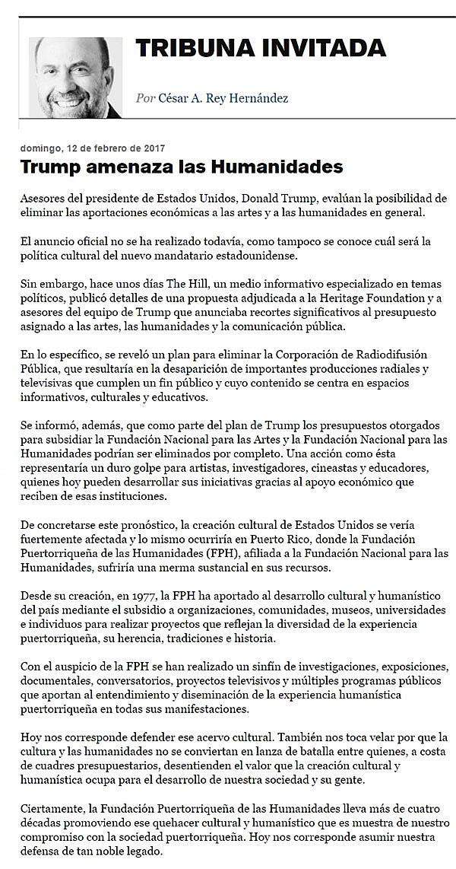 Cesar Rey | Trump amenaza las humanidades