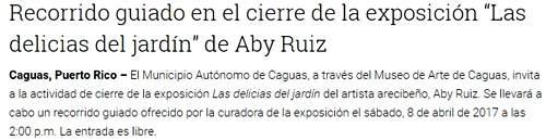 Las delicias del Jardín del pintor Aby Ruiz