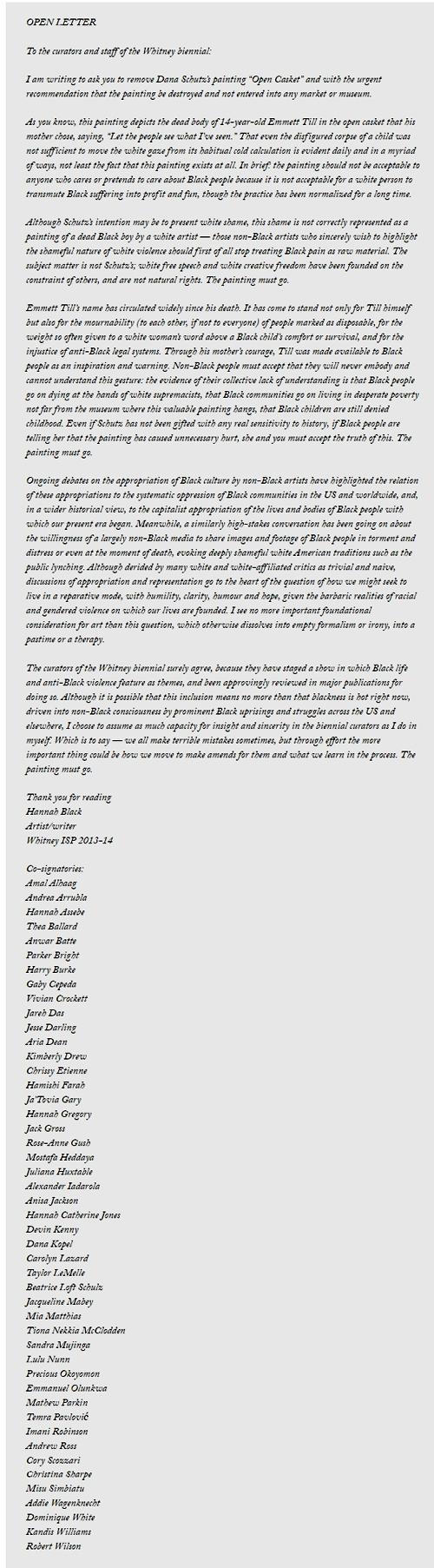 Hannah Black letter open casket painting controversy publicada en ArtNews