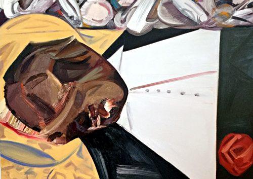 """ataúd expuesto"" painting by Dana Schutz"