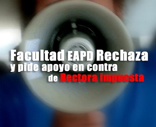 Facultad EAPD Rechaza rectora-autogiro arte actual
