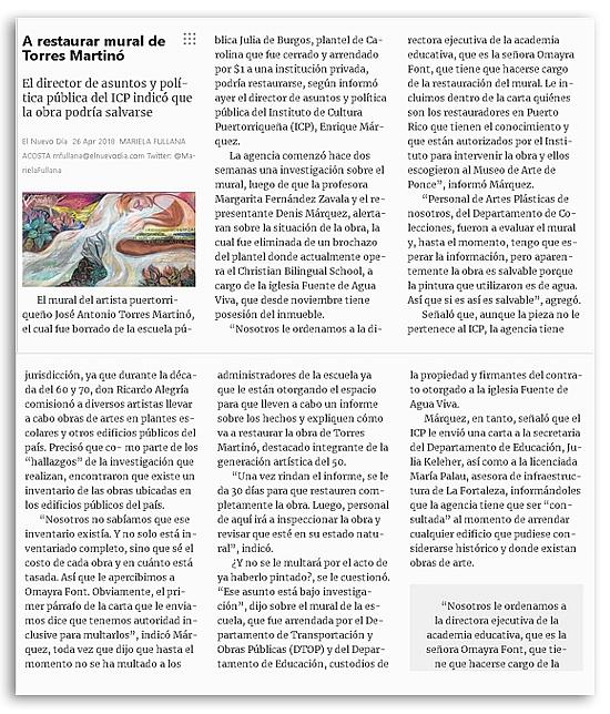 a restaurar el mural de torres martino Autogiro Arte Actual - A salvar el  mural