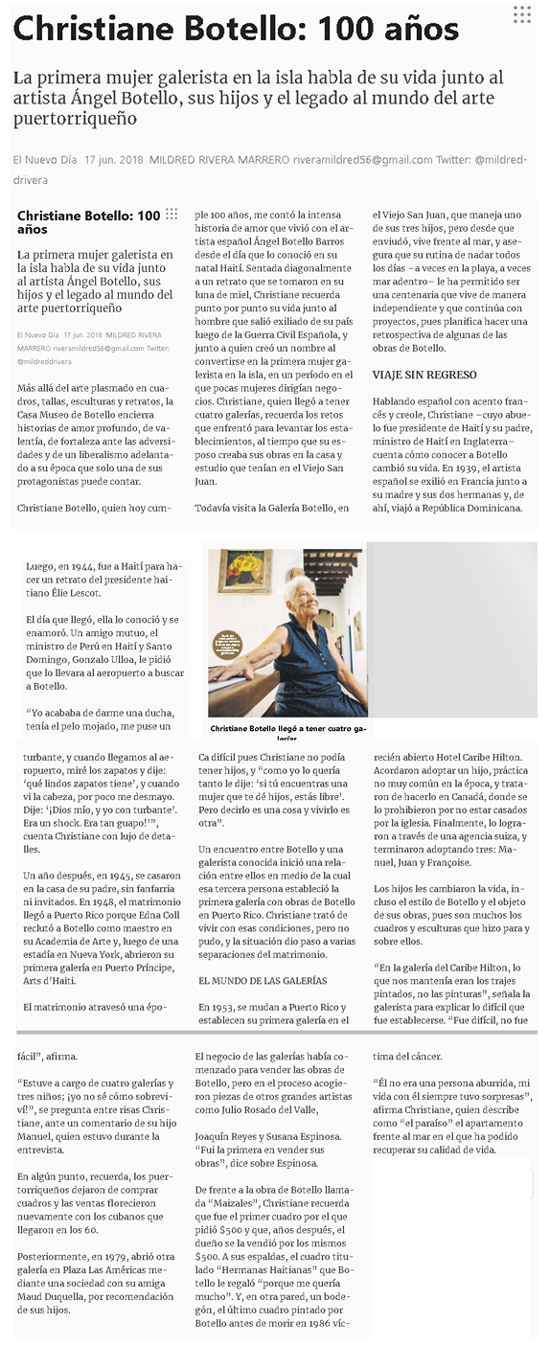 Christiane Botello:100 años | Autogiro Arte Actual