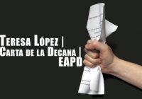 Teresa López | Carta de la Ex Decana | EAPD
