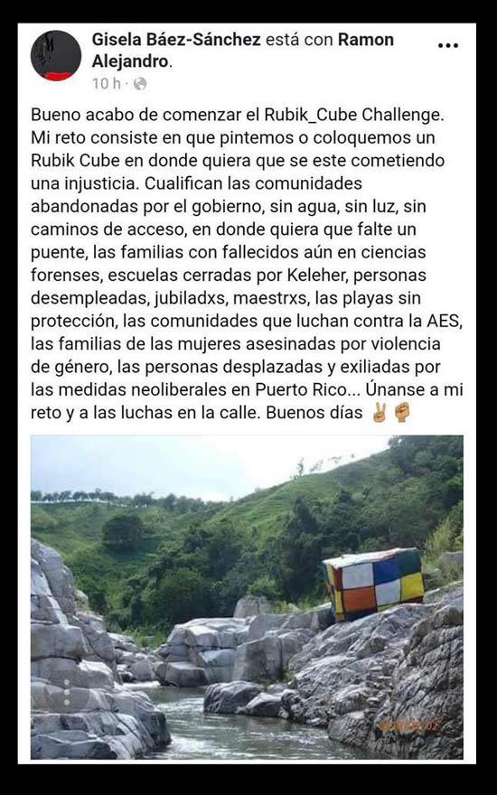Cubo Rubik controversia pintura en piedra de rio | Autogiro Arte Actual