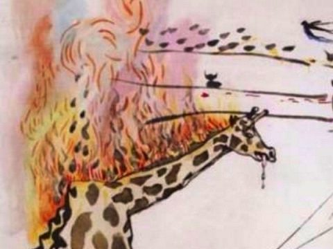 jirafa en llamas dali detalle